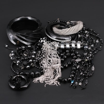 Assorted Costume Jewelry Featuring Sterling Silver Cuff Bracelet