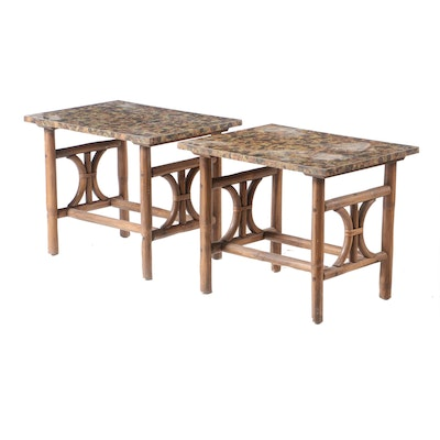 Pair of Rattan and Laminate End Tables, Mid-Century