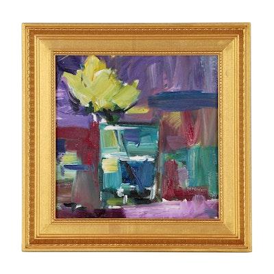 "Jose Trujillo Oil Painting ""Single Yellow Flower"""
