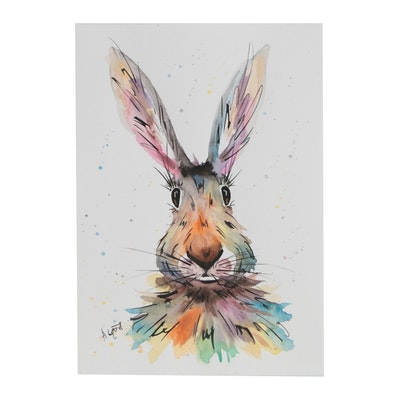 Anne Gorywine Watercolor Painting of Hare