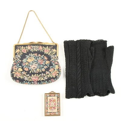 Needlepoint Evening Bag and Compact with Crochet Knit Fingerless Gloves, Vintage