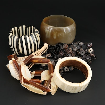 Assorted Bracelets Featuring Horn, Shell and Glass