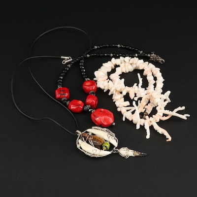 Assorted Sterling and Silver Tone Jewelry Featuring Bone, Coral and Tiger's Eye