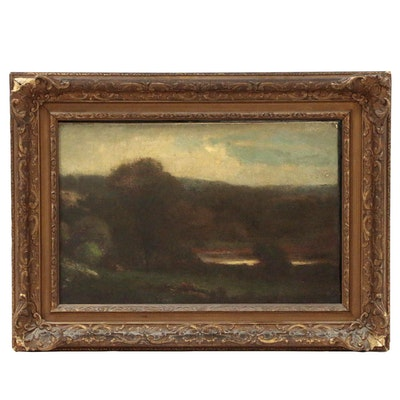 Oil Painting of Tonalist Landscape, Late 19th Century