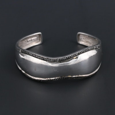 Sterling Silver and Black Diamond Cuff Bracelet