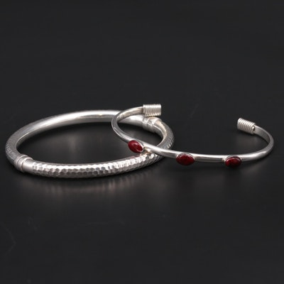 Sterling Silver Hinged Bangle and Cuff Bracelet Featuring Red Jasper