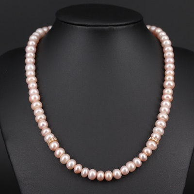 14K Yellow Gold Clasp, Cubic Zirconia and Cultured Pearl Strand