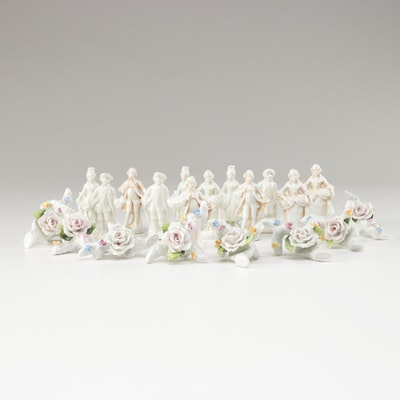Porcelain Floral and Figural Place Card Holders