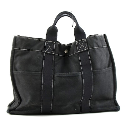 Hermès Black Fourre Tout Tote Bag with Contrast Stitching