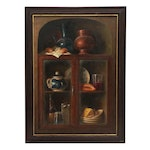 Armando Ahuatzi Still LIfe Oil Painting of Cabinent with Dishes