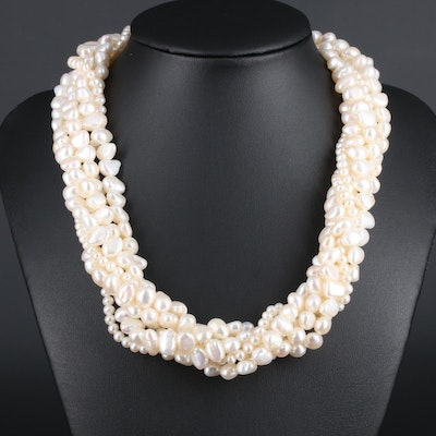 14K Yellow Gold, Cultured Pearl, Multi-Strand Necklace