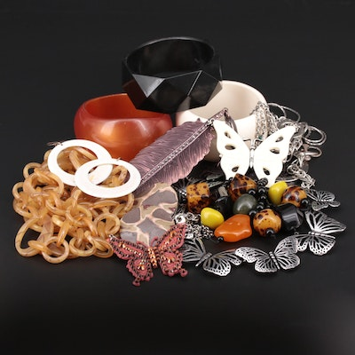 Jewelry Assortment Featuring Butterflies and Bangles