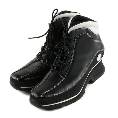 Timberland Black and White Leather Euro Dub Spin Boots