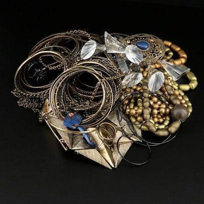 Jewelry Assortment Featuring Glass, Rhinestone and Resin