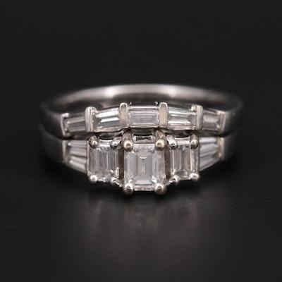 14K White Gold 1.08 CTW Diamond Ring and Band Set
