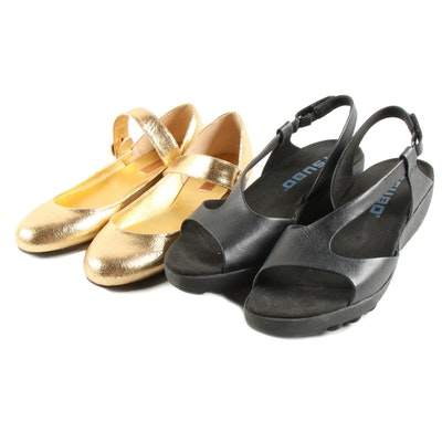 BCBG Max Azria Gold Metallic Ma-Cleuse Mary Janes and Tsubo Black Sandals