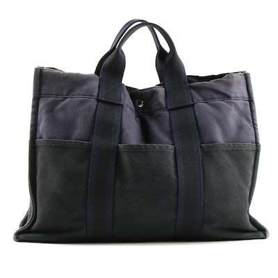 Hermès Fourre Tout Tote Bag in Navy and Black Canvas