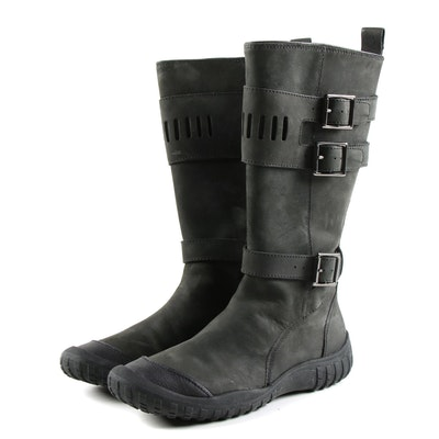 Cole Haan Air Joa Moto Boots in Black Leather