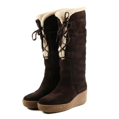 Kors Michael Kors Beaverton Sport Lace-Up Brown Suede and Faux Shearling Boots