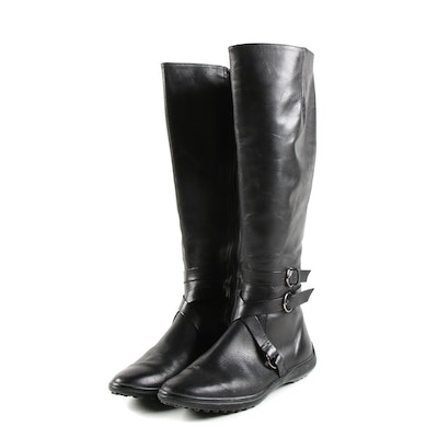 Saks Fifth Avenue Black Leather Tall Riding Style Boots with Crisscross Straps
