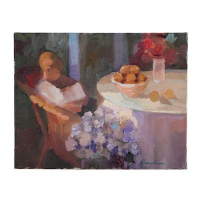 Sally Rosenbaum Oil Painting of Interior Scene with Boy Reading