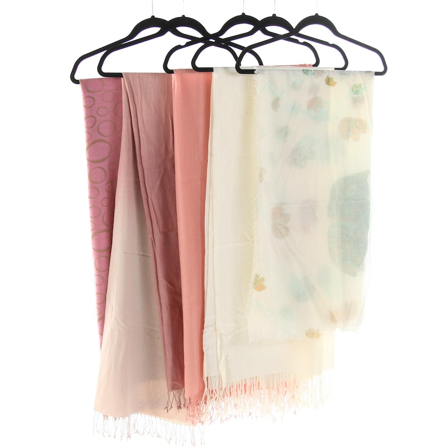 Wraps and Shawls Featuring Pashmina Cashmere and Silk Blend Fringed Shawl