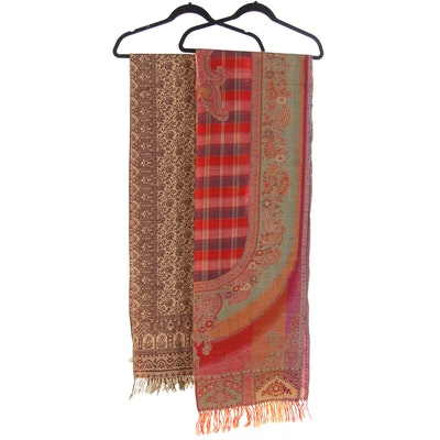 Indian Woven Wrap in Paisley and Floral Designs with Hand-Knotted Fringe