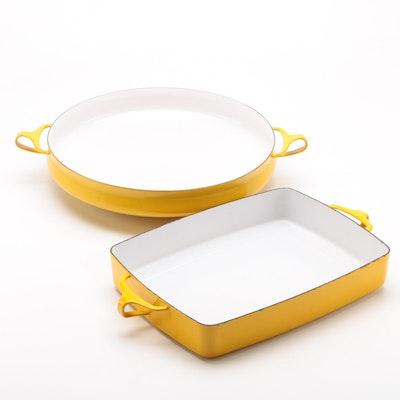 """Dansk """"Kobenstyle"""" Yellow Enameled Cast Iron Paella and Baking Dish"""