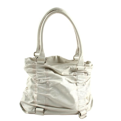 Innue White Ruched Leather Shoulder Bag