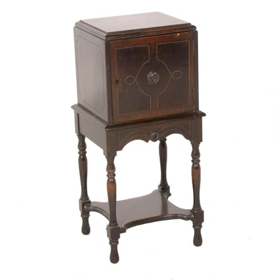 Federal Style Walnut Finish Copper-Lined Smoking Stand, Early 20th Century