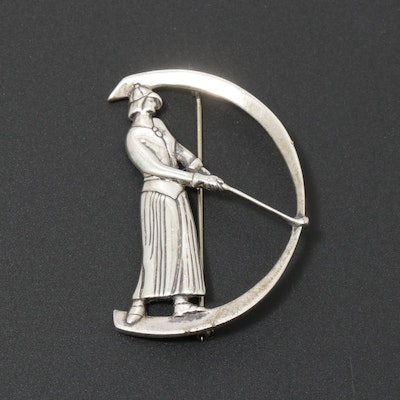 Museum of Fine Art Art Deco Style Sterling Silver Lady Golfer Brooch