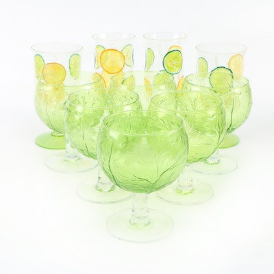 Vegetable and Hand-Painted Fruit Themed Goblets