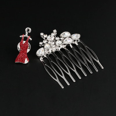 Swarovski Rhinestone Glass Foilback Dress Pin and Hair Comb
