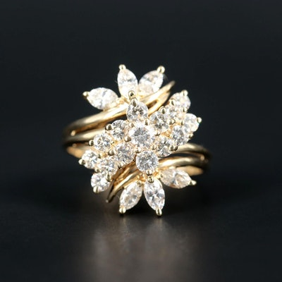 14K Yellow Gold 2.31 CTW Diamond Cluster Ring