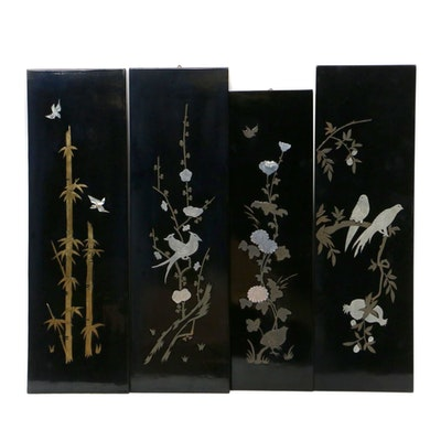 Korean Lacquerware Mother of Pearl and Metal Inlay Panels, Mid to Late 20th C.