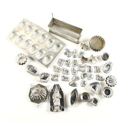 Assorted Pressed Metal Bakeware and Cookie Cutters