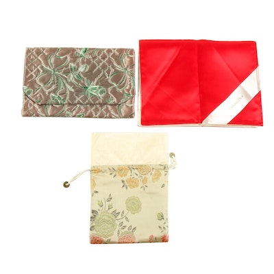 Christian Dior and Other Brocade and Embroidered Satin Travel Pouches, Vintage