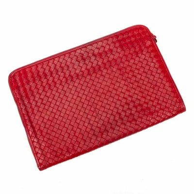Bottega Veneta Intrecciato Red Lambskin Leather Zippered Case
