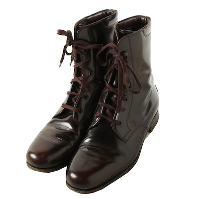 Tod's Dark Brown Glazed Leather Lace-Up Boots