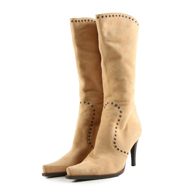 Sergio Rossi Mid-Calf Snip Toe Boots in Sand Suede with Grommets
