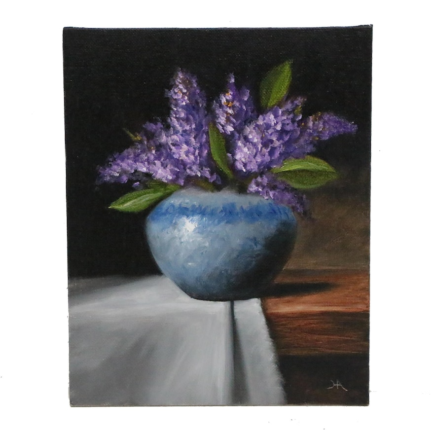 """Houra H. Alghizzi Still Life Oil Painting """"Lilacs in Porcelain Vase"""""""