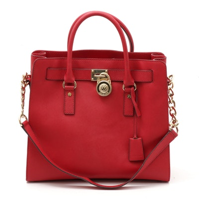 MICHAEL Michael Kors Red Saffiano Leather Hamilton North/South Tote Bag