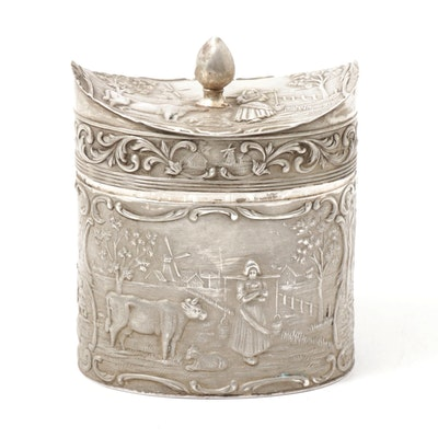 Dutch Baroque Style 800 Silver Hinged Tea Caddy, 1916
