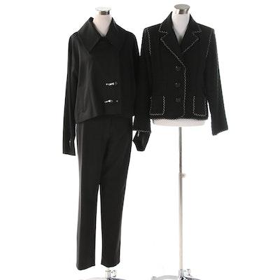 Ivan Grundahl Wool Pantsuit with Zipper Accents and CAbi Bouclé Jacket