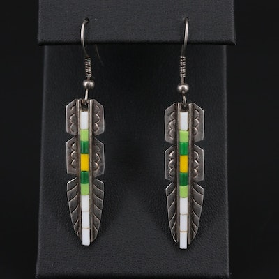 Southwestern Style Sterling Silver Resin Earrings With Feather Motif
