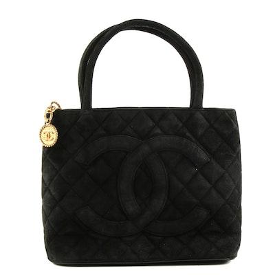 Chanel Quilted Black Suede Logo Medallion Charm Handbag