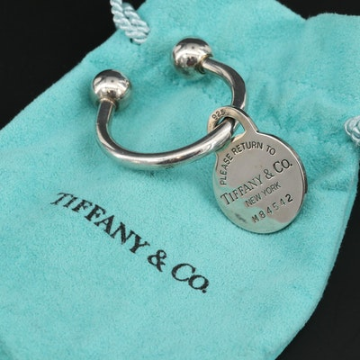 "Tiffany & Co Sterling ""Return to Tiffany"" Key Chain with Charm and Pouches"