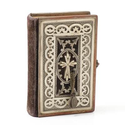 "Polish ""Pearls of Devotion"" Catholic Prayer Book with Carved Bone Cover, 1882"