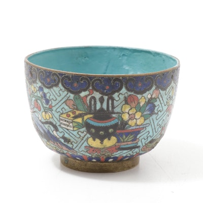 Chinese Cloisonné Enamel Rice Bowl, Late 19th/Early 20th Century