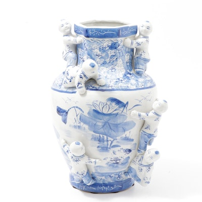 Chinese Blue and White Ceramic Vase with Applied Figures